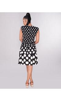 RANDALI- Dot Print Fit And Flare Dress