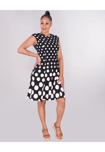 RANDALI- Dot Print Fit And Flare Dress