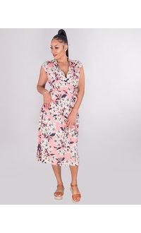 IZETTA- Floral Faux Wrap Cap Sleeve Dress
