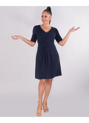 YONA- Pleated Waist V- Neck Dress