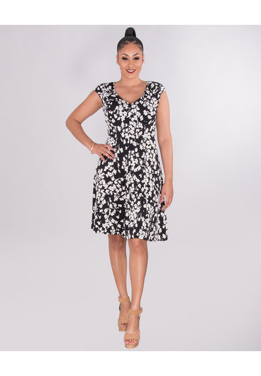 YESENIA- Floral Ruched Shoulder Dress