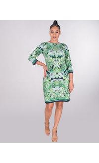 IRIDA- Printed Three Quarter Sleeve Dress