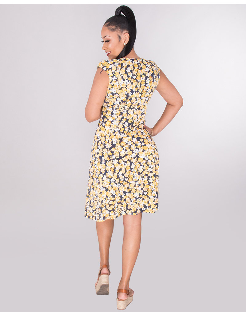 YESENIA- Floral Ruched Shoulder Dress