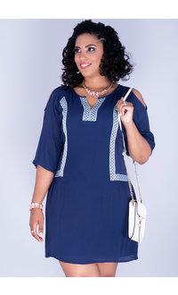 White mark GINA- Plus Size Cold Shoulder Gauze Dress