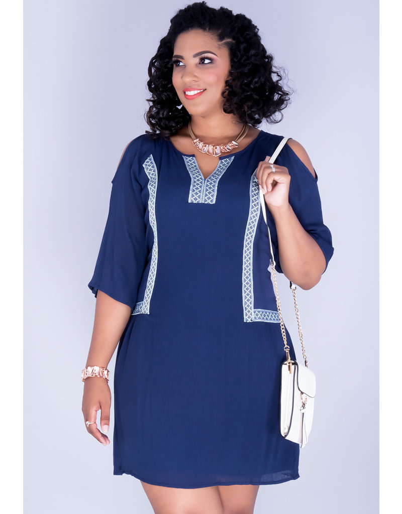 White mark GINA- Cold Shoulder Gauze Dress