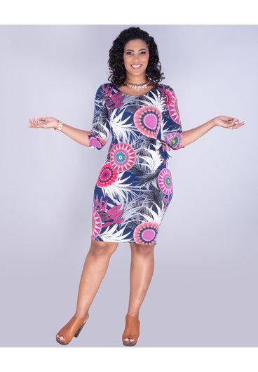YASHVI - Printed Three-Quarter Sleeve Side Tie Dress