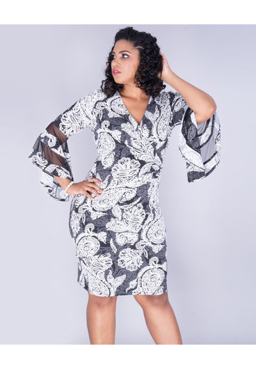RMR YAMI - Plus Size Puff Print Faux Wrap Drama Sleeve Dress