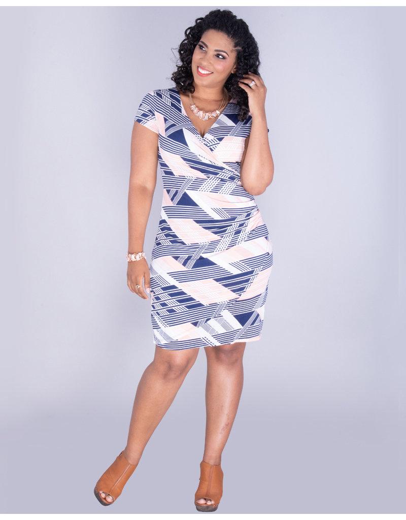 YASHILA - Geo Print Faux Wrap Dress