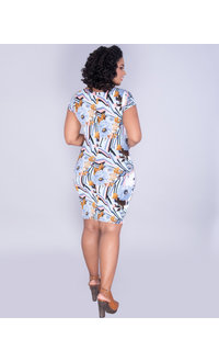 YASHODA- Printed Short Sleeve Bodycon Dress