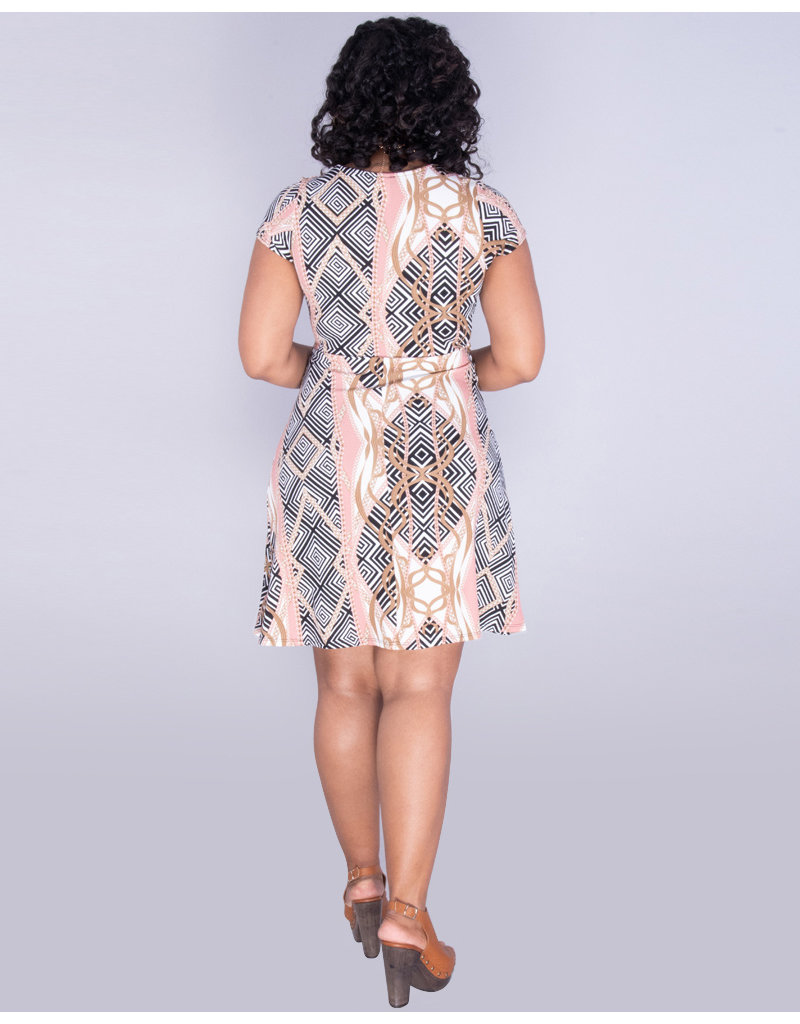 XIN- Printed Faux Wrap Textured Dress