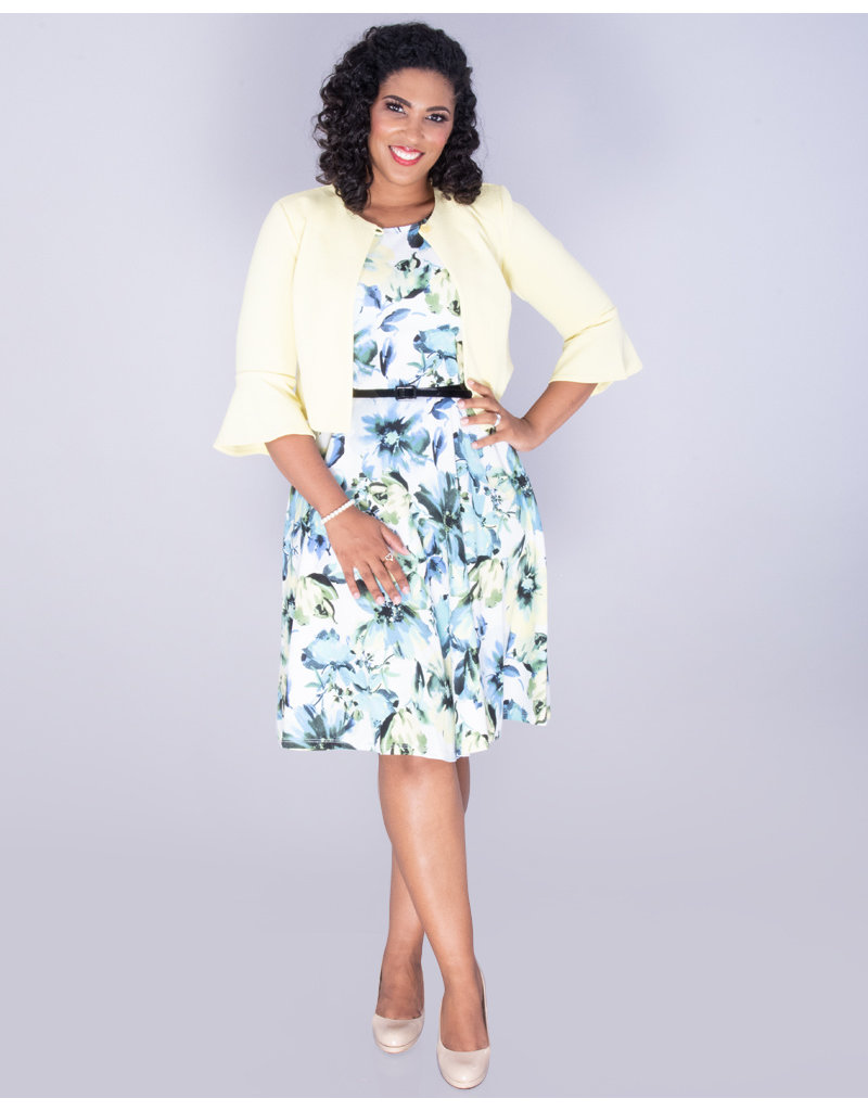 RENJU- Floral Dress With Ribbed 3/4 Sleeve Jacket