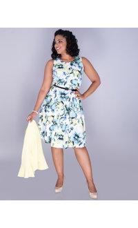 RENJU- Floral Dress With Ribbed 3/4 Sleeve Jacket
