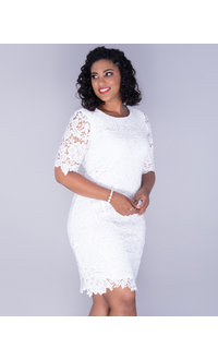 Sandra Darren CARMELITA-Crochet Lace 3/4 Sleeve Dress