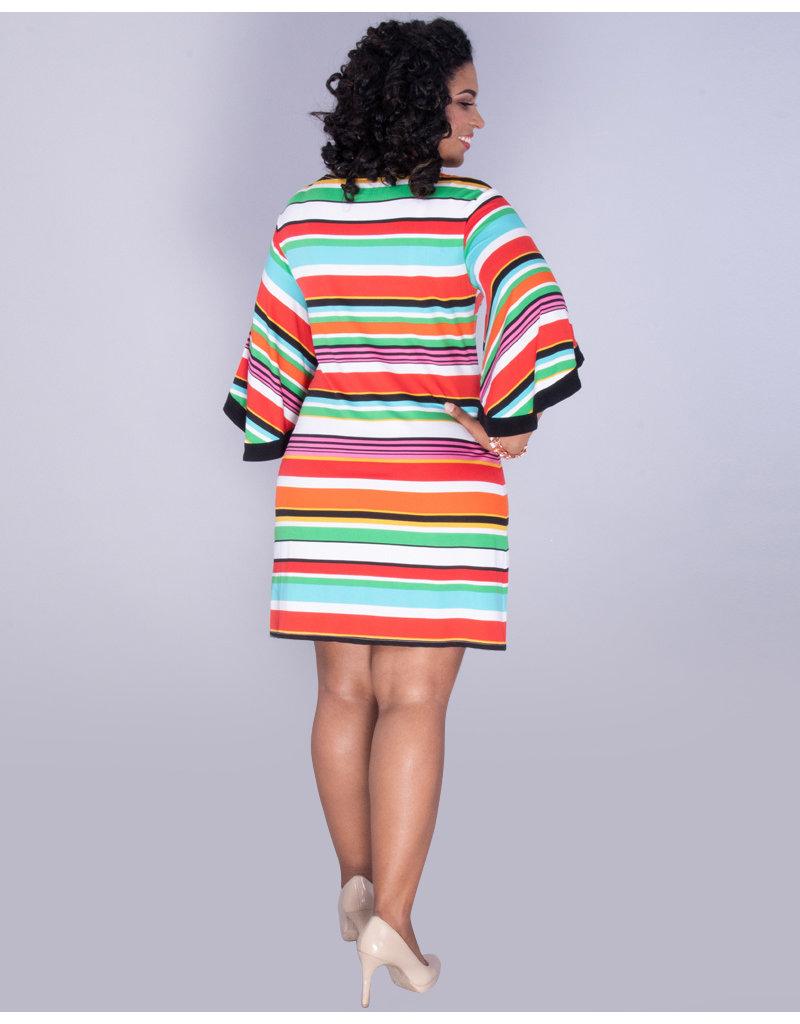 Msk Yoselin Striped Bell Sleeve Dress