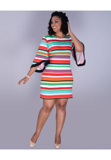 MSK YOSELIN- Striped Bell Sleeve Dress