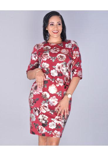 UDANTIKA - Glossy Floral Three-Quarter Sleeve Dress