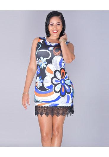 White mark ISAMAR- Sleeveless Floral Crochet Trim Dress