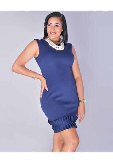 UDENISE- Pleated Hem Sleeveless Dress