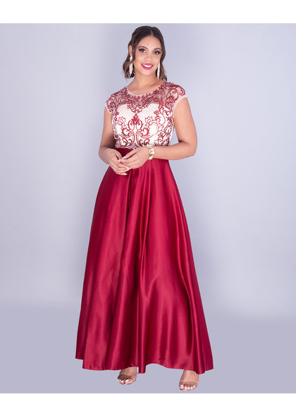 Sublime SHARIA - Embroidered Illusion Top Satin Gown