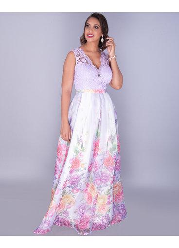 OBELIA - Floral Organza Plunge Neck Gown