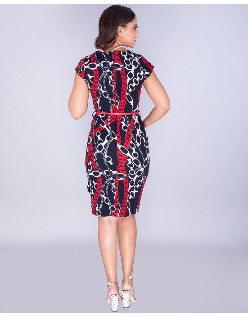Pyramide XANDRIA - Printed Cap Sleeve Dress With Belt