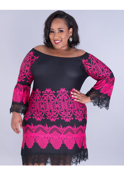 White mark IDOJ- Plus Size Off Shoulder Cochet Trimmed Dress