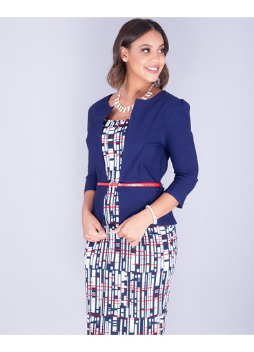 Pyramide XAVIERA- Printed 3/4 Sleeve Jacket Style Dress