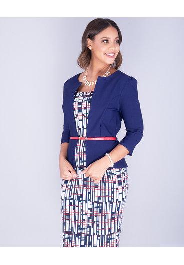Pyramide XAVIERA- Printed 3/4 Sleeve Jacket Style Dress