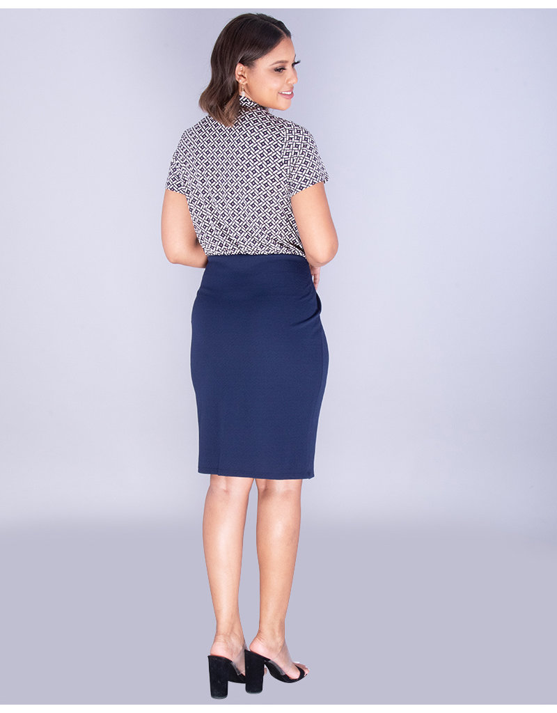 XANTHIA- Contrast Short Sleeve Dress With Buttons