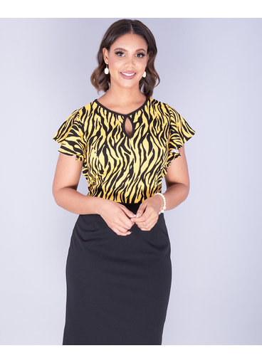 Kara Girl RASHEBA- Animal Print Ruffle Sleeve Dress