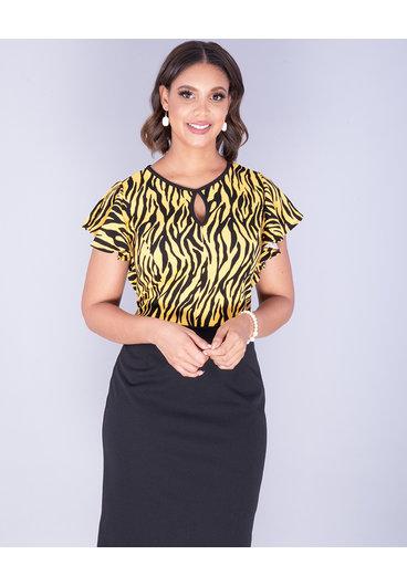 Kara Girl RASHEBA- Animal Print Ruffle Sleeve Dress