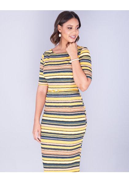 Pyramide XYLDA- Striped Textured Dress With Belt