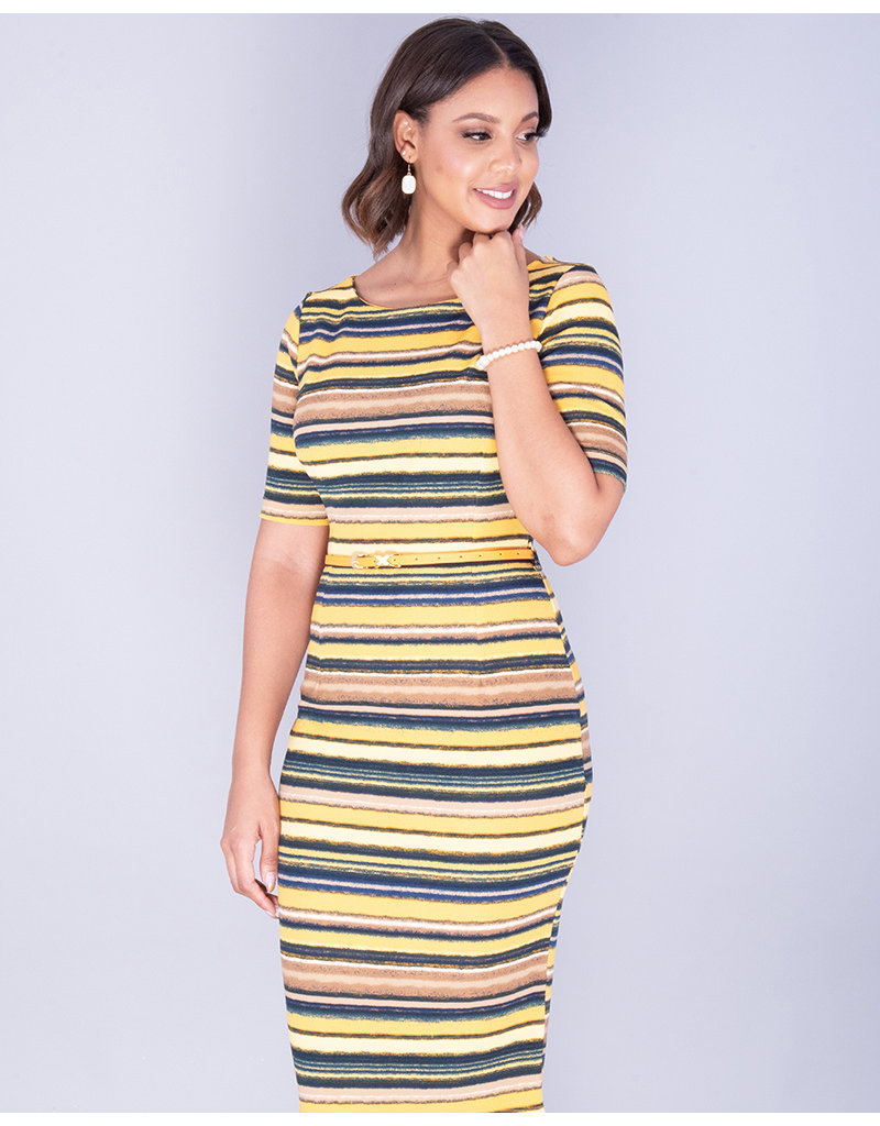 Pyramide XYLDA- Striped Textured Dress With Belt