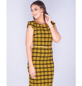 Pyramide ELISHA- Checked Cap Sleeve Dress With Belt
