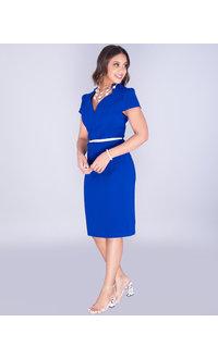Kara Girl WYNNONA- Sculpted Plunge Neck Dress With Belt