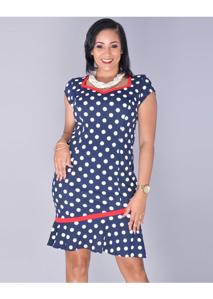 RAJIA- Polka Dot Accent Trim Dress