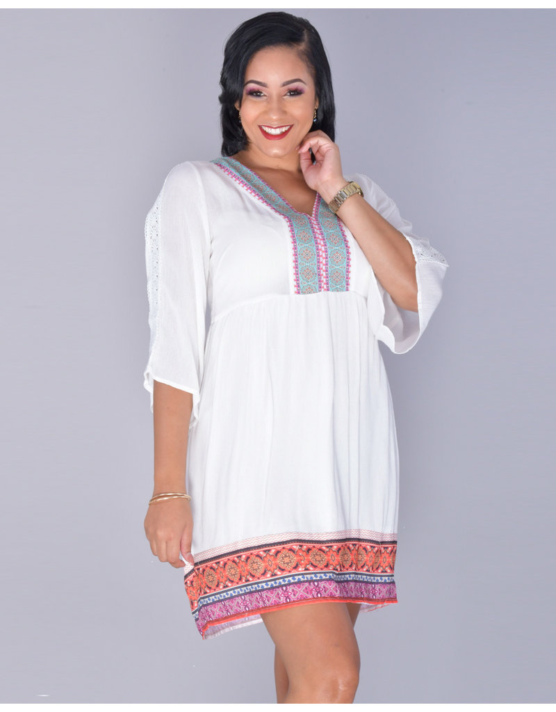 White mark GABRIELLE- Bell Sleeve Chiffon Hem Gauze Dress