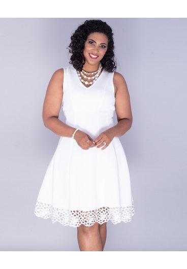 UHANA- Sleeves Lace Hem Scuba Dress
