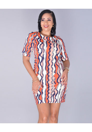 Aryeh YVAINE- Printed BIB-Neck Dress