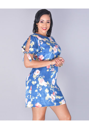 YOJANA- Floral Faux Silk Shift Dress