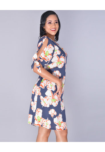 FLOMETTA- Plus Size Floral Split Sleeve Dress