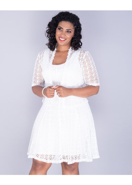 Signature CHERISH- Crochet Fit and Flare Jacket Dress