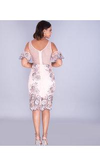 MALINA- Plunge Neck Embroidered Cold Shoulder Dress