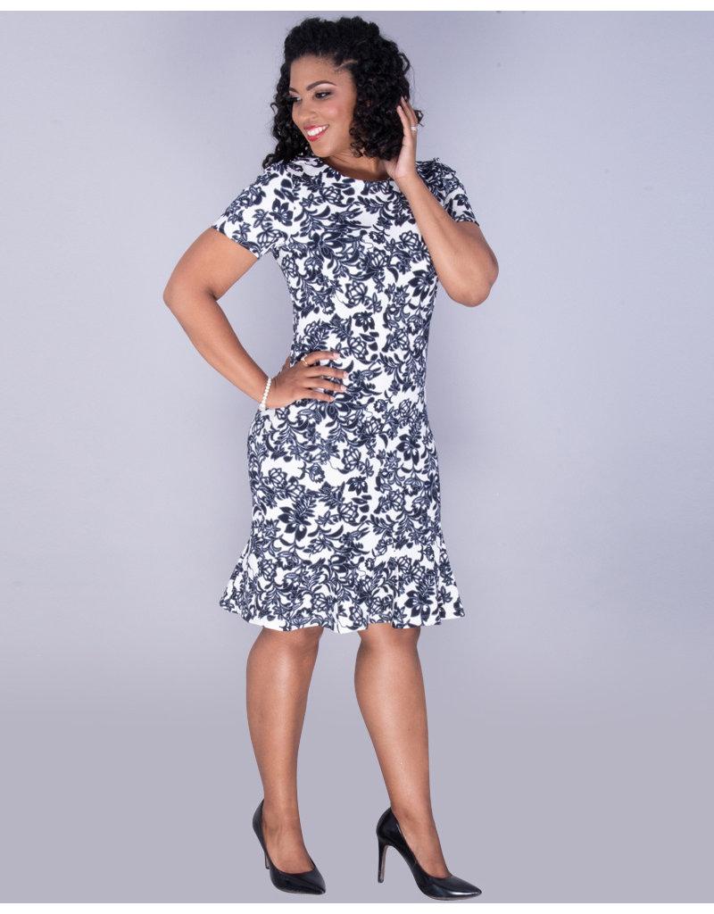 PALASHA- Floral Ruffle Hem Dress