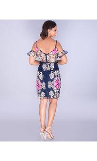 MAKO- Embroidered Cold Shoulder Illusion Waist Dress