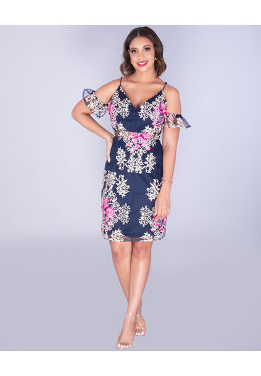 MAKO- Embroidered Cold Shoulder Illusion Waist Dress