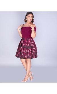 MERYL- Off Shoulder Embroidered Mesh Dress