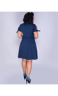 WHITNEY- V-Neck Split Sleeve Fit And Flare Dress