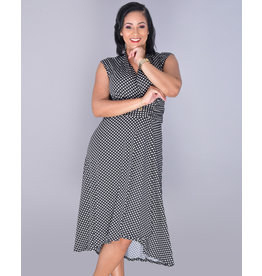 IDUNA- Polka Dot Cap Sleeve Faux Wrap Dress