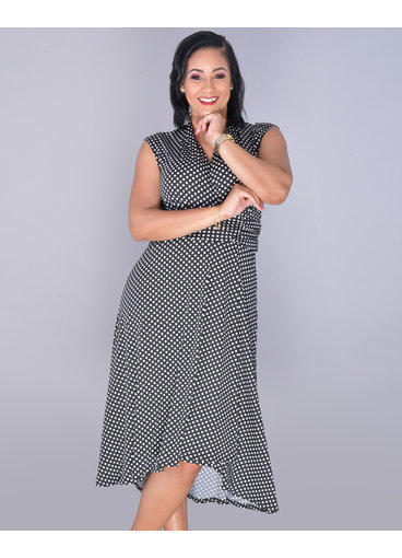 IDUNA- Polka Dot Cap Sleeve Faux Wrap Dress